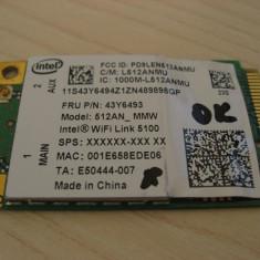Placa wireless laptop Lenovo ThinkPad X301, Intel WiFi 5100, 512AN_MMW, 43Y6493