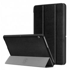 Husa carte KRASSUS pentru Huawei MediaPad T3 10, 9.6 inch flip cover pliabila din piele PU, negru