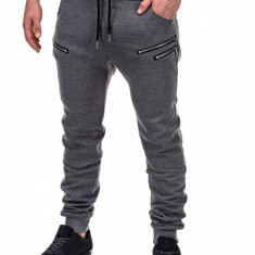 Pantaloni pentru barbati de trening gri inchis fermoare decorative banda jos cu siret bumbac p422