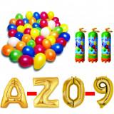 Cumpara ieftin Pachet 15 baloane numere / cifre la alegere, 3 butelii heliu, 100 baloane 26cm metalizate