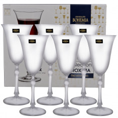 Set 6 pahare cristal vin rosu Proxima Bohemia, 350 ml, Transparente