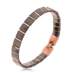 Brăţară neagră din ceramică, elemente în formă de piramidă, dungi aurii-roz