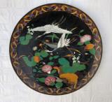 Raritate!!! Fructiera din glazone infatisand berze si motive florale, secol 19