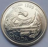 Monedă 25 cents 1999 Canada, October, unc, km#351, America de Nord