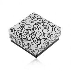 Cutiuță de cadou în culorile alb-negru, imprimeu cu ornamente în spirală