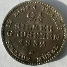 2 GROSI SI JUMATATE ARGINT, 1852, STARE DEOSEBIT DE FRUMOASA ! PIESA DE GRADAT !
