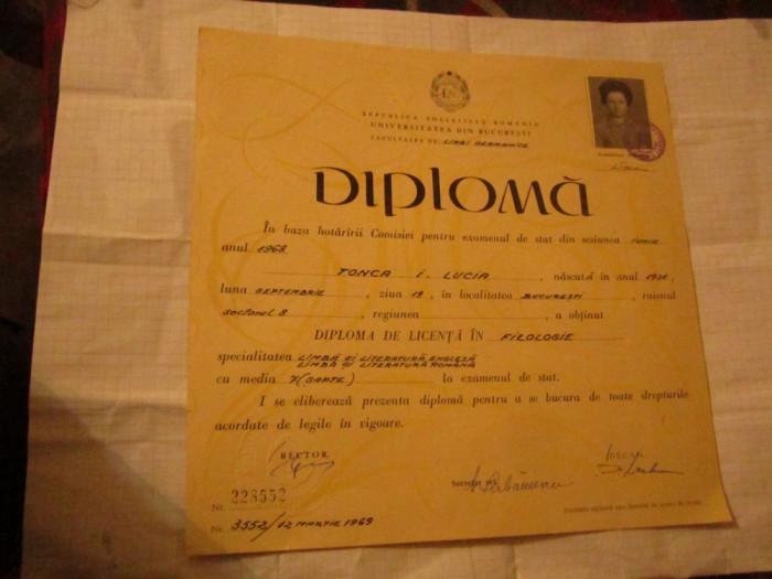 diploma de licenta in filologie an 1969 la facultatea de limbi germanice a9