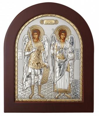 Sfintii Arhangheli Mihail si Gavril Icoana Argintata 14.7x18 cm Cod Produs 1402 foto