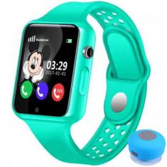 Ceas GPS Copii iUni Kid98, Telefon incorporat, Touchscreen 1.54 inch, BT, Notificari, Camera, Verde + Boxa Cadou