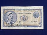 Bancnote România - 5 lei 1952 - seria t 57 439628  (starea care se vede)