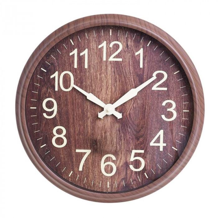 Ceas de perete Maison, rotund, rama melamina, maro, diametru 30 cm