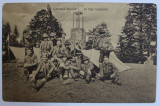 CERCETASI ROMANI IN FATA CORTURILOR , CARTE POSTALA ILUSTRATA , MONOCROMA, CIRCULATA , DATATA 1917