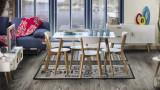 Cumpara ieftin Set masa din MDF si lemn de stejar Milan 120White / Oak + 4 scaune Milan White / Oak, L120xl80xH75 cm