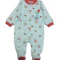 Salopeta / Pijama bebe cu desene Z51, 1-2 ani, 1-3 luni, 12-18 luni, 3-6 luni, 6-9 luni, 9-12 luni, Bleu