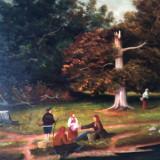 POPASUL - semnata indescifrabil, pictura veche in ulei pe panza, tablou cu rama, Peisaje, Realism