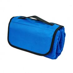 Patura picnic clasica, cu maner, 117x135 cm, Everestus, JU094, lana, albastru, saculet de calatorie inclus