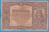(7) BANCNOTA UNGARIA - 50 KORONA 1920 (1 IANUARIE1920) SERIA 5a004/020394