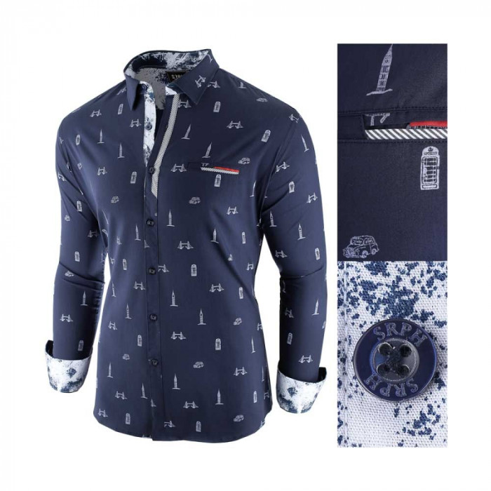 Camasa pentru barbati, bleumarin, slim fit, casual - Leon Special