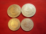 4 monede 1924 : 1 leu si 2 lei ,cu semn si fara semn monetar ,cal.Buna si F.Buna