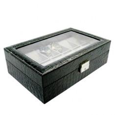 Cutie caseta eleganta depozitare cu compartimente pentru 12 ceasuri, imprimeu...