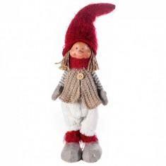 Spiridus portelan textil rosu alb bej Boy cm 9x42 H