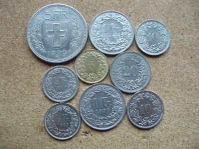 ELVETIA -LOT 9 MONEDE : 5 FRANCS; 1 FRANC; 1/2 FRANC; 5, 10, 20 RAPPEN LM1.02 foto