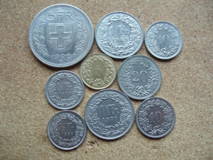 ELVETIA -LOT 9 MONEDE : 5 FRANCS; 1 FRANC; 1/2 FRANC; 5, 10, 20 RAPPEN LM1.02