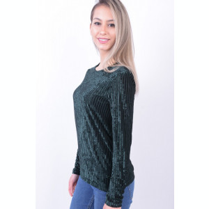 Bluza Pieces Love Verde Inchis