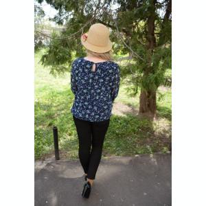 Bluza eleganta, vaporoasa, de culoare bleumarin-turcoaz