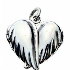 Pandantiv medalion pentru poza argint Inima cu aripi
