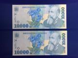 Bancnote România - 10000 lei 1999 - UNC ( 2 buc serii apropiate)