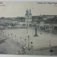 Targu Mures, vedere din Piata Regele Ferdinand// CP, Circulata, Fotografie