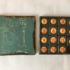 T- Joc vechi 15 (tablita cu 15 numere), metal/ tabla, 7x7cm, anii 50-60