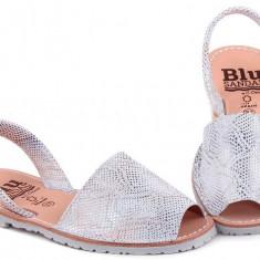 Sandale Dama Avarca C Cortuno Menorquinas Argintii New din Piele