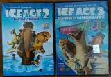 Două dvd cu Ice Age 2 si 3 cu ochelari 3D, Desene animat, Romana