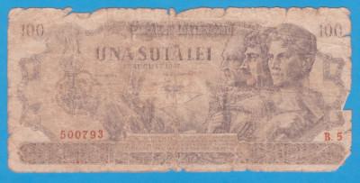 (22) BANCNOTA ROMANIA - 100 LEI 1947 (27 AUGUST 1947) foto