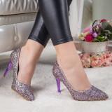 Pantofi Grumio mov cu toc -rl