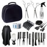 Set kit frizerie coafor COMPLET cu foarfeca profesionala tuns filat geanta manta