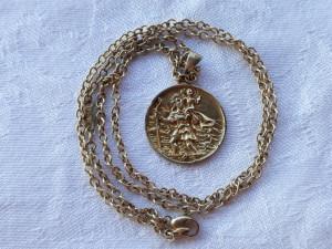 GEORG HENSEN MEDALION argint aurit SFANTUL CRISTOPHER superb pe Lant argint