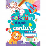 Carte de colorat Girasol, Coloram dupa contur