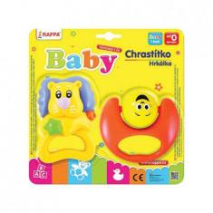 Set 2 Jucarii Zornaitoare pentru Bebelusi, Leu si Smiley, Multicolor
