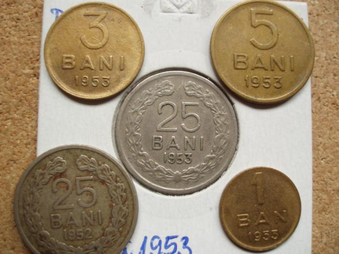 SET 1 ban + 3 bani + 5 bani + 25 bani 1953 + CADOU 25 bani 1952 , EDO 1.5