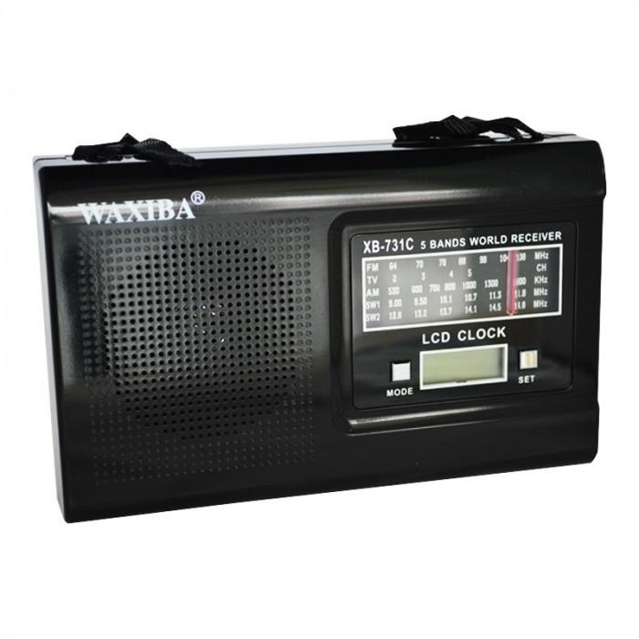 Radio portabil cu ceas Waxiba XB-731C, ceas LCD, 5 benzi