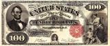 100 dolari 1880 Reproducere Bancnota USD , Dimensiune reala 1:1