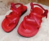 Cumpara ieftin Sandale Piele Naturala Summer Rosii, 35, 38, 45, 46, Rosu, Sandaleromane