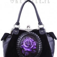 Geantă gotică cu camee Trandafir violet