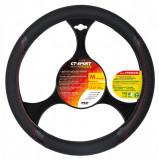 Husa volan GT Sport Premium - M - Ø 37/39cm - Negru/Rosu