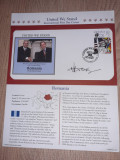Romania 2002-F.D.C.,UNITED WE STAND,Adrian Nastase,autograf + carte cu autograf
