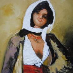 Tablou / Pictura fata cu mana in sold semnat Cimpoesu., Portrete, Ulei, Realism