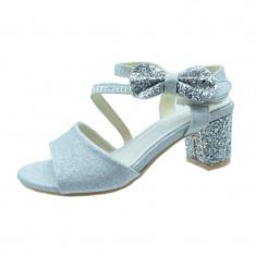 Sandale elegante cu toc fetite MRS M1505A, Argintiu